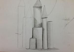 Trumbull High Student's Still Life of Cylinders & Cones.
